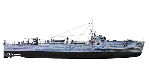 Este Schnellboot modelo S-38S, fué asignado a la 5ª Flotilla de S-Boots, Mar Báltico, 1941.