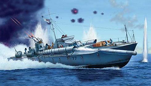 Lancha torpedera Vosper MTB-77, Royal Navy, Mar del Norte, 1942.