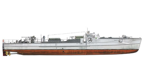 Modelo S-38b asignado a la 8ª Flotilla de S-boots, realizando operaciones en el mar del Norte y el Canal de la Mancha, 1943-1944.