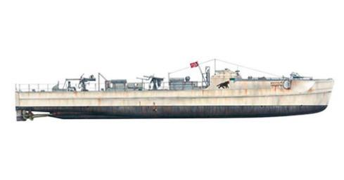 Schnellboot modelo S.100, este modelo incorpora 2 cañones automáticos de 20 mm en el centro de la lancha y 1 x 37 mm en la popa, 1943.
