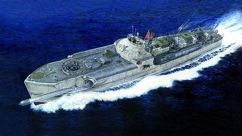 Schnellboot modelo S-100 lanzando torperdo en algún lugar del Mar del Norte