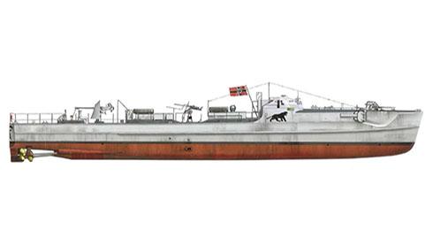 Schnellboot modelo S-100 perteneciente a la 4ª Flotilla S-boots, está pintado con el gris oscuro de la marina alemana, 1944.