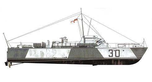Vosper MTB-30, pintado en camuflaje de dos colores para operaciones en el Mar del Norte, 1942