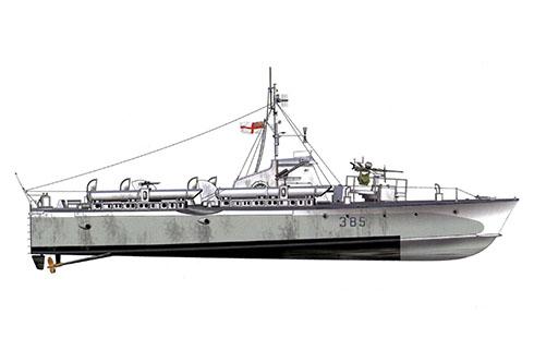 Vosper MTB 385 modelo I, asignado en operaciones en el Canal de la Mancha y el Mar del Norte, 1944-45.