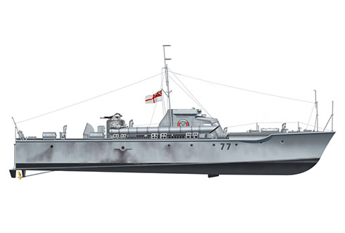 Vosper MTB-77, Royal Navy, Mar del Norte, 1942.